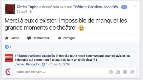 Facebook - Théâtres parisiens associés