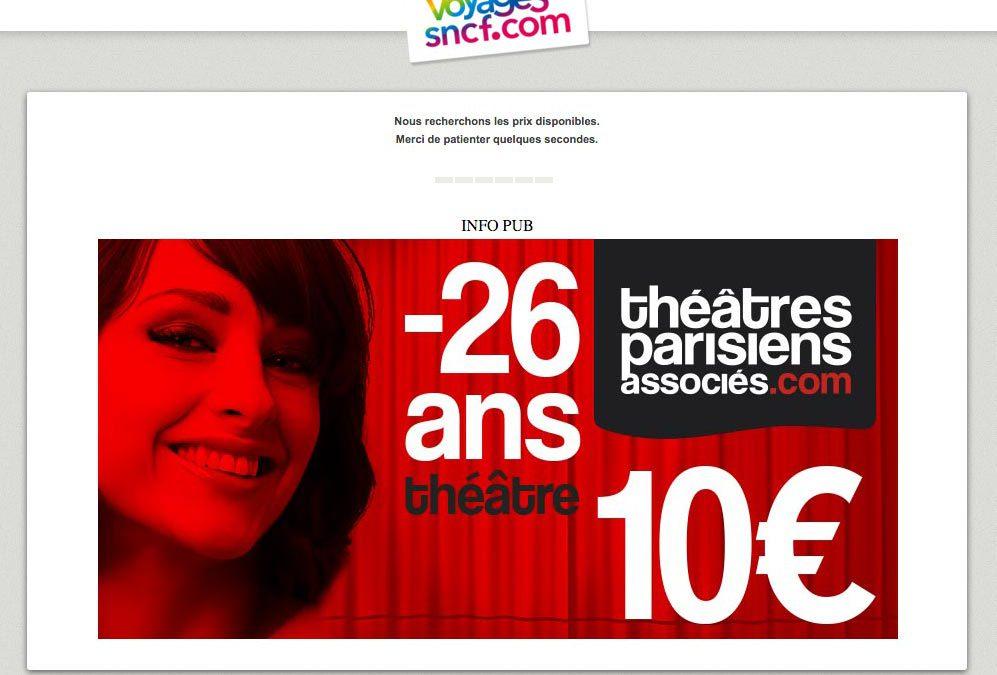 Nouvelle campagne Théâtres Parisiens Associés sur voyages-sncf.com